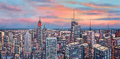 Skyline, New York by Phillip Bissell - Original Painting on Box Canvas